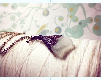 Brass Petticoats - white sea glass necklace / seaglass necklace / sea glass necklace / beach jewelry / brass necklace