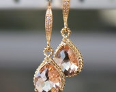 Beautiful Blush Crystal Teardrops Framed in Gold or Silver, Hanging From French Jeweled Earrings