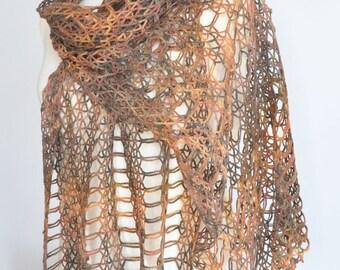 Alpaca Lace - Fall - Crochet Multicolor Lace Shawl/Stole