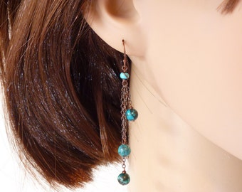 Long turquoise earrings in copper, dark teal blue turquiose earrings, copper jewelry