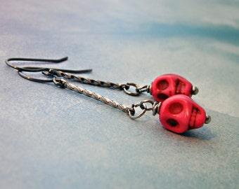 Frida Sugar Skull Day of the Dead Halloween Pink earrings stainless steel