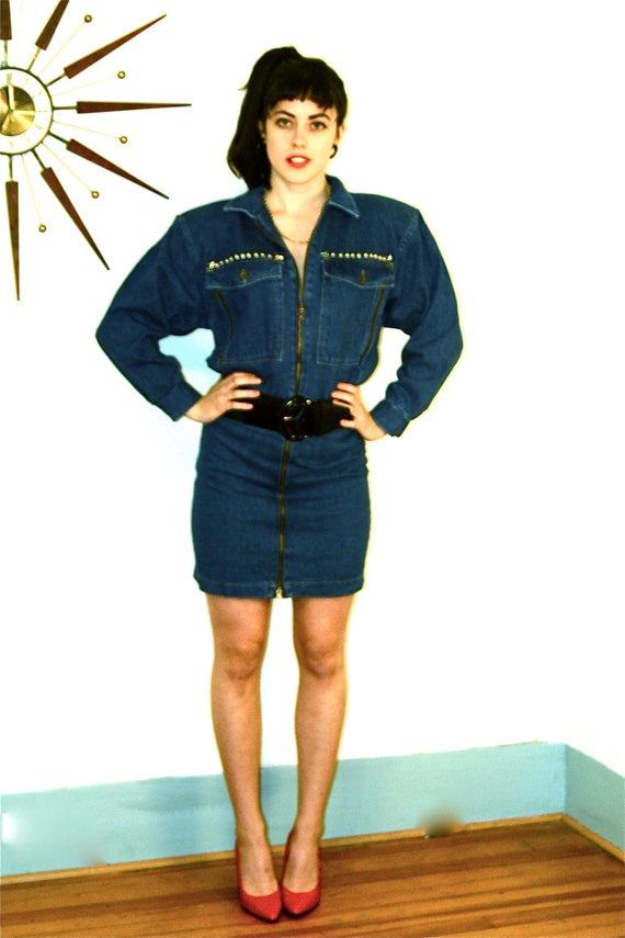 Vintage 80s Denim Studded Dress Big Shoulder Pads Zippers Studs Boxy ...
