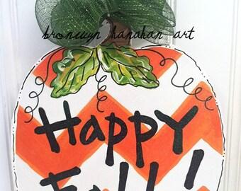 Chevron Pumpkin Door Hanger - Bronwyn Hanahan Art