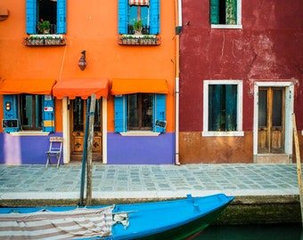 Burano Photograph, Italy Photography Orange Blue Red Houses Canal Boat Dreamy Colorful Home Decor Wall Art ita115