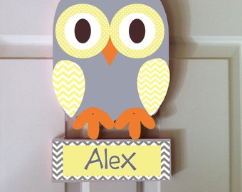 owl door sign, personalized name sign, owl nursery, kid's door hanger, owl room decor, wall art
