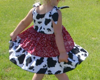 Cowgirl Twirly Sundress Square Dance Dress  Cow and Bandana print, Baby, Infant, Toddler, Girl's 3-6M 6-12M 12-18M 18-24M 2t 3t 4t 5/6 7/8