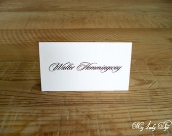 100 Classic Elegant Script Place Cards - The Natty Collection - By My Lady Dye