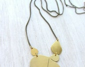 Modern statement brass long necklace,  unique gold teardrop abstract flower pendant.