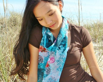 Blue Scarf, Infinity Scarf, Gifts Under 25, LightWeight Scarf, Womens Scarves, Teen Scarf, Circle Scarf, Chiffon Scarf, Pretty Scarf