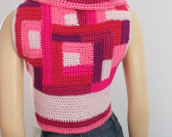 Patchwork - Pink Crochet Pixie Jacket Vest Bolero Sweater / Size S-M / one of a kind