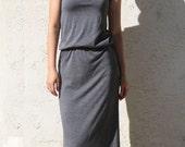 Sleeveless Maxi Dress with Elastic Waist, Blousen Maxi Dress, Slim Maxi Dress / Handmade Dress - Charcoal Gray