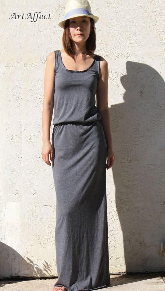 Sleeveless Maxi Dress with Elastic Waist, Blouson Maxi Dress, Tank Top Maxi Dress, Jersey Maxi Dress, Slim Maxi Dress - Charcoal Gray