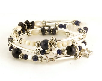 Navy Blue Lapis and White Bracelet, Gemstone Memory Wire Beaded Bracelet With Stars