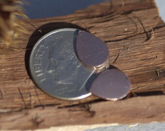Copper Teardrop Blank Tiny Shape Blank  for Enameling Metalworking Polished Blanks