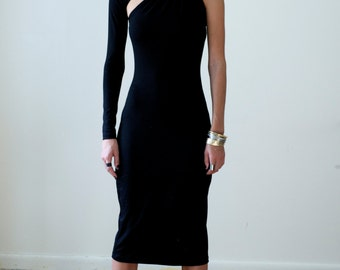 Black Dress / Marcellamoda / One Shoulder Dress / LBD / Little Black Dress / Pencil Dress / Prom Dress / Party Dress / 330 - MD0003