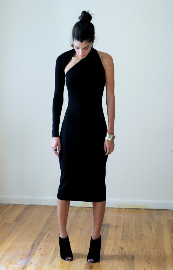 The long black dress one shoulder