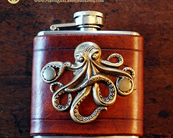 Flask - brass octopus on brown leather (3 oz), steampunk pirate hipster groomsman wedding