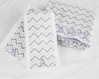 Custom Embroidered Grey Chevron and Purple Flannel Baby Blanket and 2 Burp Cloths - can be pink, light blue, aqua or turquoise