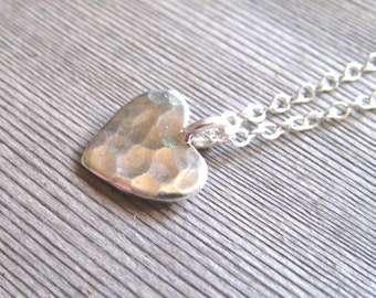 Silver Heart Necklace, Silver Hammered Jewelry,  Layering Necklace, Handmade Hammered Heart Pendant, Textured Necklace