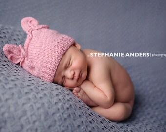 Newborn photo prop, newborn hat, newborn boy, newborn girl, knit newborn hat, newborn props, newborn hats, Newborn hat with ears