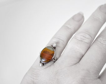 Vintage Sterling Silver Banded Agate Ring Size 5
