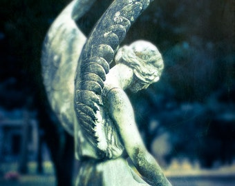 Fine Art Photography, Angel Art, Cemetery Photo, Religious Statue, Angel Wings, Wall Art, Gothic Decor, Loss of Loved One, Condolence Gift