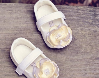 Toddler Girl Shoes Baby Girl Shoes Soft Soled Shoes Cream Wedding Shoes Easter Shoes Flower Girl Shoes Yellow Gray Shoe Spring Shoe  - Flora