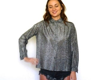 70s Shimmery Gunmetal Peter Pan Collar Disco Tent Blouse s m