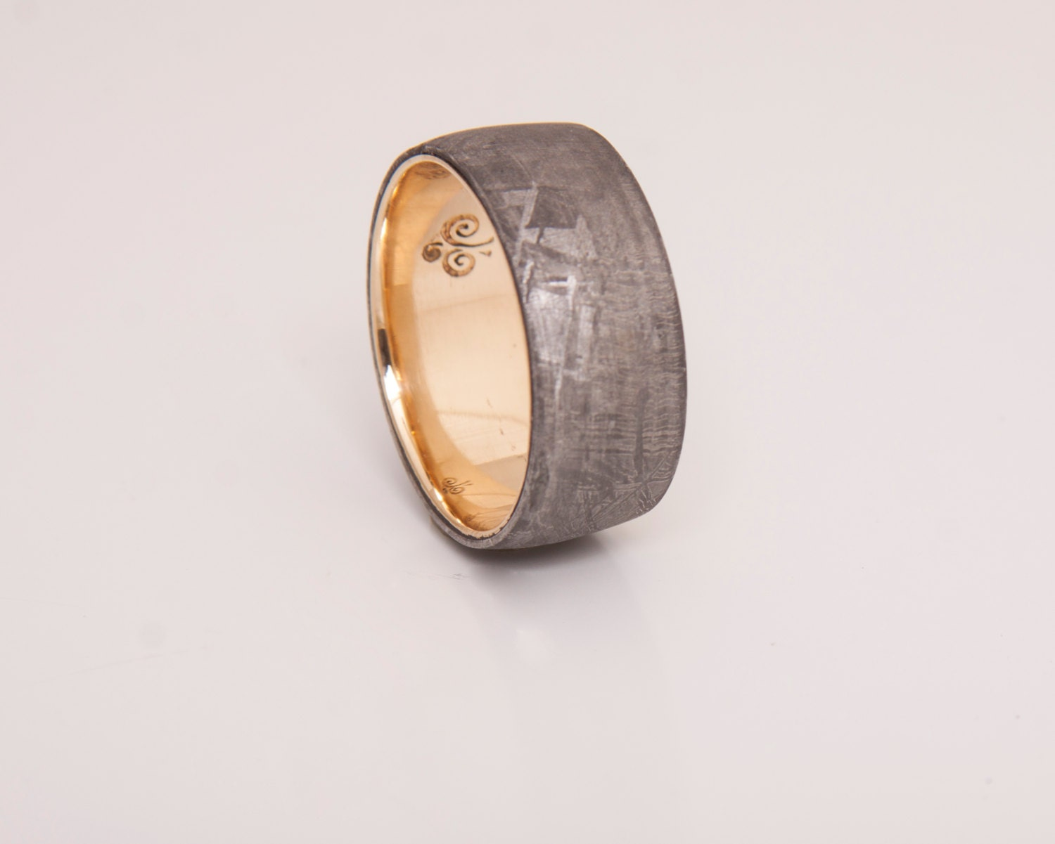 meteorite wedding band with 18k gold ring wedding by