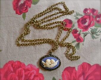 Angel Cameo Necklace- Kissing Angels Cherub Necklace Angel Necklace Romantic Necklace Lavender necklace Cupid necklace Purple Cameo necklace