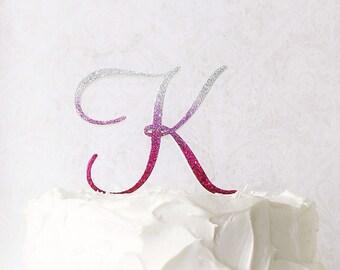 Ombre Wedding Cake Topper 5 Monogram Fuchsia Pink