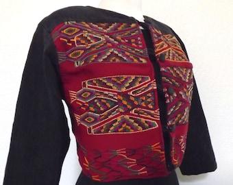 SALE Vintage Boho Chic Cropped Guatemalan Tapestry Jacket - Maroon -  Geometric Ethnic / Tribal Design