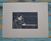 Chico - Linocut Print  - 8 1/2 x 11 - Printmaking - Black - Recycled Paper - Marx Brothers