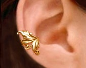 Royal Leaf ear cuff, Gold earcuff clip earring, Unique Jewelry for men & women, Left or Right
