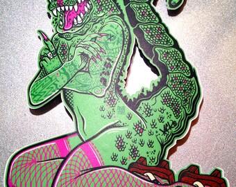 Geisha Godzilla Pin Up  - Full Color Godzilla Vinyl Decal / Sticker