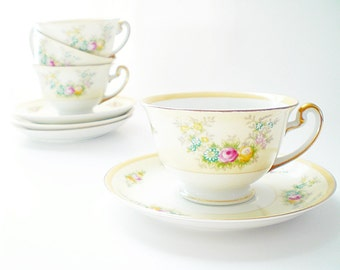 Cottage Chic China Cups and Saucers 4 Porcelain Teacups Japan China Teacups Delicate Shabby Chic Floral Pale Yellow