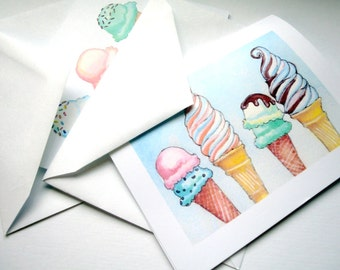 Ice Cream Greeting Cards - Ice Cream Cones Watercolor Art Blank Notecards - Food Illustration Cards - Set of 4 Cards