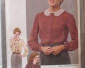 Women's Vintage Sewing Pattern - Button Front Blouse - Simplicity 9719 - Size 12, Bust 34, Uncut
