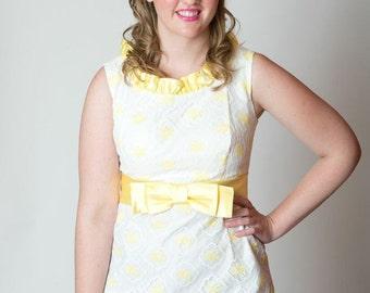 the patty vintage 60s short wedding dress polka dot yellow white medium large lace mod