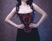 Stays corset red and black silk brocade steampunk gothic