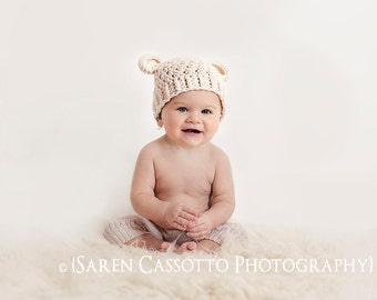 Baby Boy Hat, 3 to 6 Months Baby Boy, Baby Monkey Hat, Crochet Flapper Hat, Cream with Ears. Great for Photo Props. Baby Shower Gift.