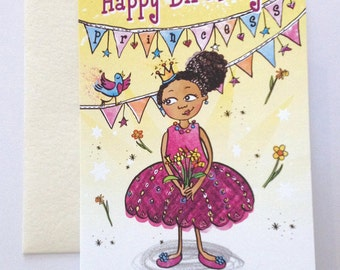 Black Princess Birthday Card, Multicultural Greeting Cards, cute greeting card, for girls, mixed race, birthday card, illustrated card