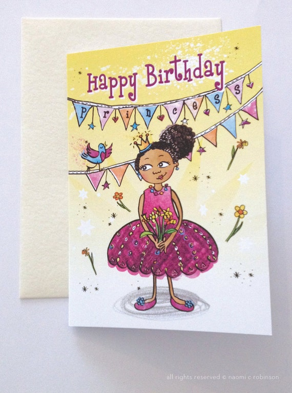 Black Princess Birthday Card Multicultural Greeting Cards – Princess Happy Birthday Cards