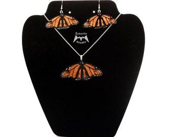 Elegant Orange  Butterfly Earrings and Small Pendant Set