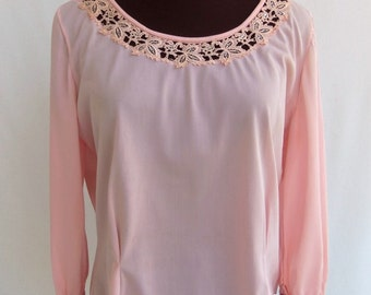 Vintage 50s 60s Blouse Baby Pink with Lace Inset and Rhinestones Size M / L