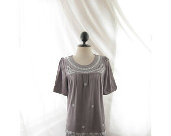 Women Indian Top Cotton Boho Chic Tunic Moroccan Gray Taupe Bohemian Embroidery Aztec LOTR Long Coverup Caftan Mexican Coachella Indie Dubai