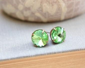 Peridot Post Earrings Green Glass Studs Rhinestone Stud Earrings Glass Gem Jewel Surgical Steel Posts Nickel Free Bridal Jewelry