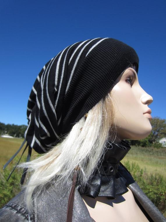 black white striped beanie womens hats big by
