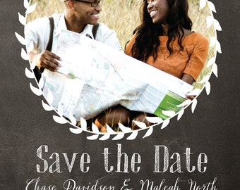Chalkboard Laurel Save the Dates