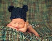 Crochet Baby Bear Beanie Hat - Newborn to 12 months - Dark Country Blue - MADE TO ORDER